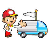 Red Delivery Man mascot Toward the truck convoy. Product and Dis Stock Photo