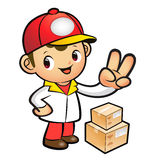 Red Delivery Man taking the victory of Gesture. Product and Dist Royalty Free Stock Photo