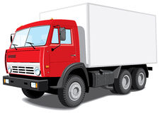 Red delivery truck Stock Photo