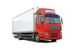 Red Delivery Truck Isolated Over White. Background stock images