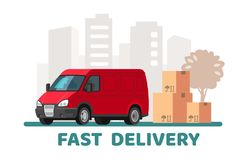 Red delivery van with cardboard boxes with fragile signs. Vector flat Stock Image