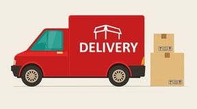 Red delivery van with shadow and cardboard boxes with fragile signs. Product goods shipping transport. Flat  illustration for web, icon, banner, info graphic Stock Images