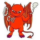 Red demon boy smoking. Cartoon illustration of red demon boy smoking a cigarette Royalty Free Stock Photos