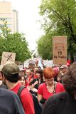 Red demonstration in Montreal street Royalty Free Stock Photo
