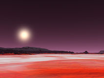 Red desert. And yellow sun vector illustration