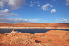 Red desert and the bright blue water Royalty Free Stock Photos