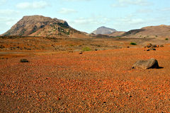 Red desert in Cape Verde. The red desert with volcano in the island of Boa Vista in the archipelago of Cape Verde Stock Images