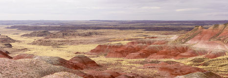 Red Desert Panorama on a Cloudy Day Stock Photos