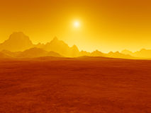 Red desert sunset. An illustration of a red desert sunset Stock Photo