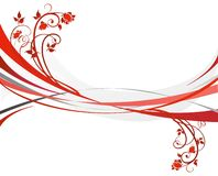 Red design. With floral elements Stock Image