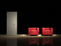 Red design chairs. Two red chairs against black wall Royalty Free Stock Photo