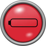 Red design empty battery in round 3D button. Red design empty battery in 3D button Stock Photography