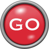Red design go in round 3D button. Red design go in 3D button Royalty Free Stock Photos