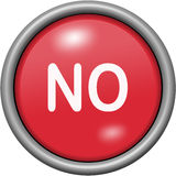 Red design No in round 3D button. Red design No in 3D button Royalty Free Stock Images
