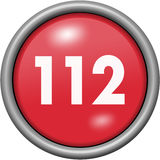 Red design 112 in round 3D button. Red design 112 in 3D button stock illustration