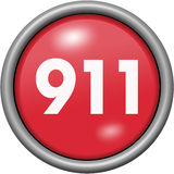 Red design 911 in round 3D button. Red design 911 in 3D button vector illustration