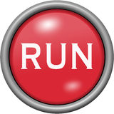 Red design run in round 3D button. Red design run in 3D button Royalty Free Stock Image