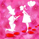 Red design with a silhouette of  boy and girl. Romantic red background with silhouettes of couples in love, boy with flowers and a wedding ring and girl with Stock Images