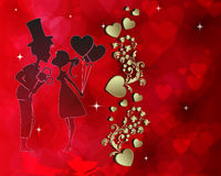 Red design with silhouette of lovers Stock Photos