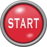 Red design start in round 3D button. Red design start in 3D button Stock Photo