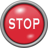 Red design stop in round 3D button. Red design stop in 3D button Stock Images