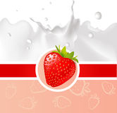 Red design with strawberry and milk splash - vector Royalty Free Stock Image