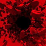 Red destruction abstract explosion background. 3d render illustration Stock Image