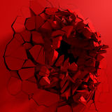 Red destruction abstract explosion background. 3d render illustration Royalty Free Stock Image
