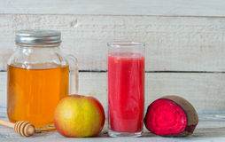 Red detox with beetroot, apple and honey Royalty Free Stock Photo