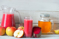Red detox with beetroot, apple and honey Stock Photos