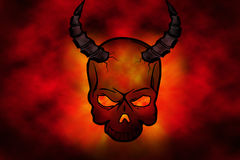 Red devil. Background with head of skeleton/devil with fire in his eyes Royalty Free Stock Photo