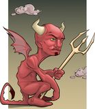 Red devil. Vector image of a tired red devil with a trident in his hands against the background of clouds Stock Photo