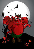 Red devil. Illustration of a cute red satan  grimace  with it mouth smiling Royalty Free Stock Photo