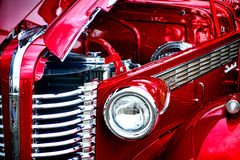 Antique Hot Rod Hood and Grille stock photos