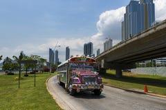 Red Devil Bus (Diablo Rojo) in a street of Panama City. Stock Photos