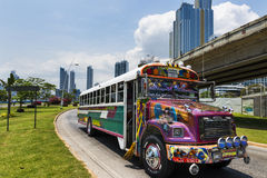 Red Devil Bus (Diablo Rojo) in a street of Panama City. Royalty Free Stock Photo