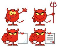 Red Devil Cartoon Emoji Character. Collection. Isolated On White Background Royalty Free Stock Photography