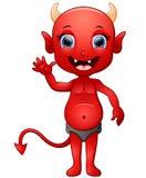 Red devil cartoon waving hand Royalty Free Stock Photos