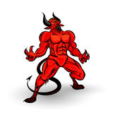 Red devil character. Design on white background Stock Image