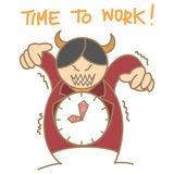 Red devil clock boss Stock Photo