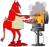 Red devil cooking on a BBQ grill Stock Photo