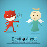 The red devil and  cute angel Royalty Free Stock Image
