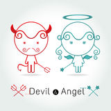 The red devil and  cute angel Stock Images