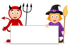 Red Devil & Cute Witch with Blank Banner Royalty Free Stock Photo