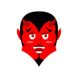 Red Devil. Funny demon. Satan with horns. Crafty Mephistopheles. Stock Image