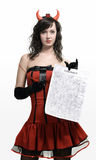 Red devil girl with a contract Stock Images