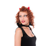 Red devil girl looking back royalty free stock image