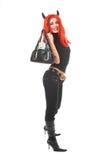 Red devil girl with money bag