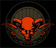 Red devil head with the horns and wooden beer keg on background, vector logo. Stock Image