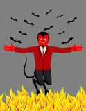 Red Devil in hell. Funny demon and bat. Satan with horns.  Royalty Free Stock Photography